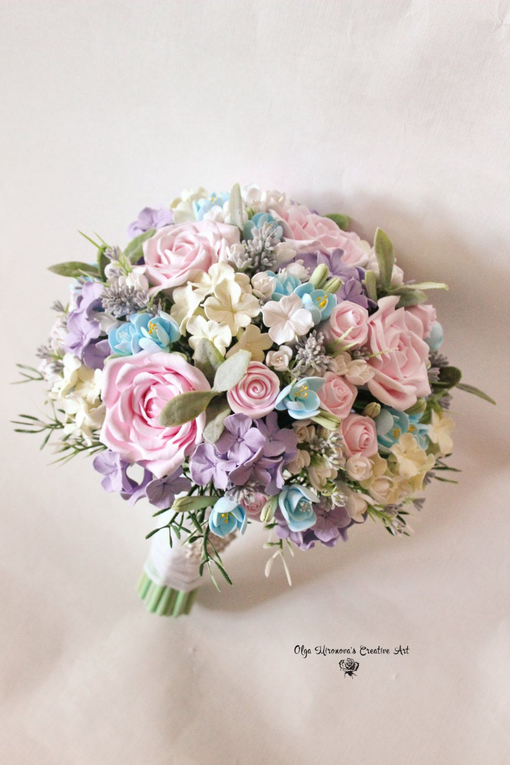 Pink roses lavender wedding bouquet bridal shabby chic bouquet clay pink roses lavender wedding bouquet bridal shabby chic bouquet clay flowers bouquet romantic keepsake bouquet pink blue ivory bouquet izmirmasajfo Images