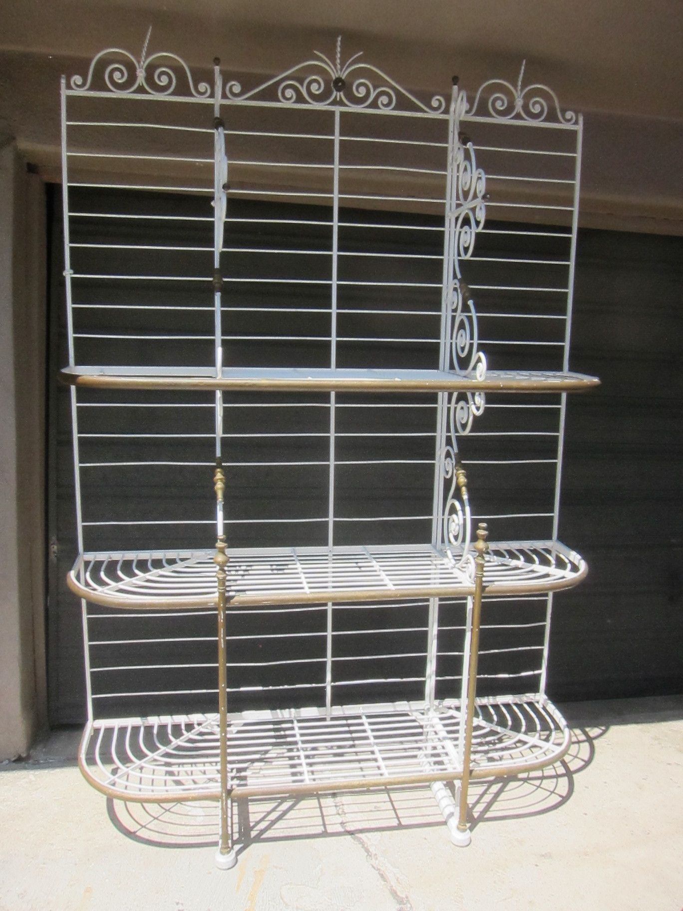 Antique French Wrought Iron Bakers Rack By A Courrier A Paris 8ft