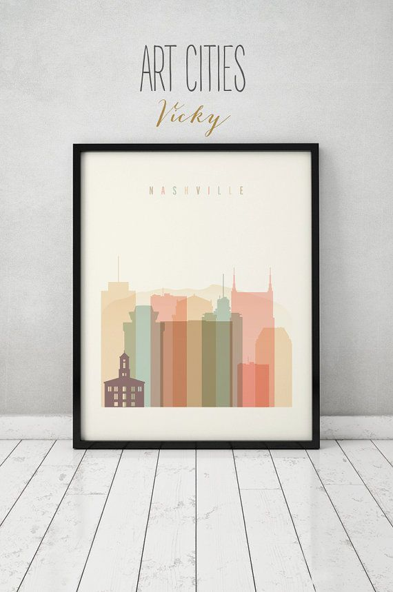 Nashville Wall Art nashville print, poster, wall art, nashville tennessee skyline
