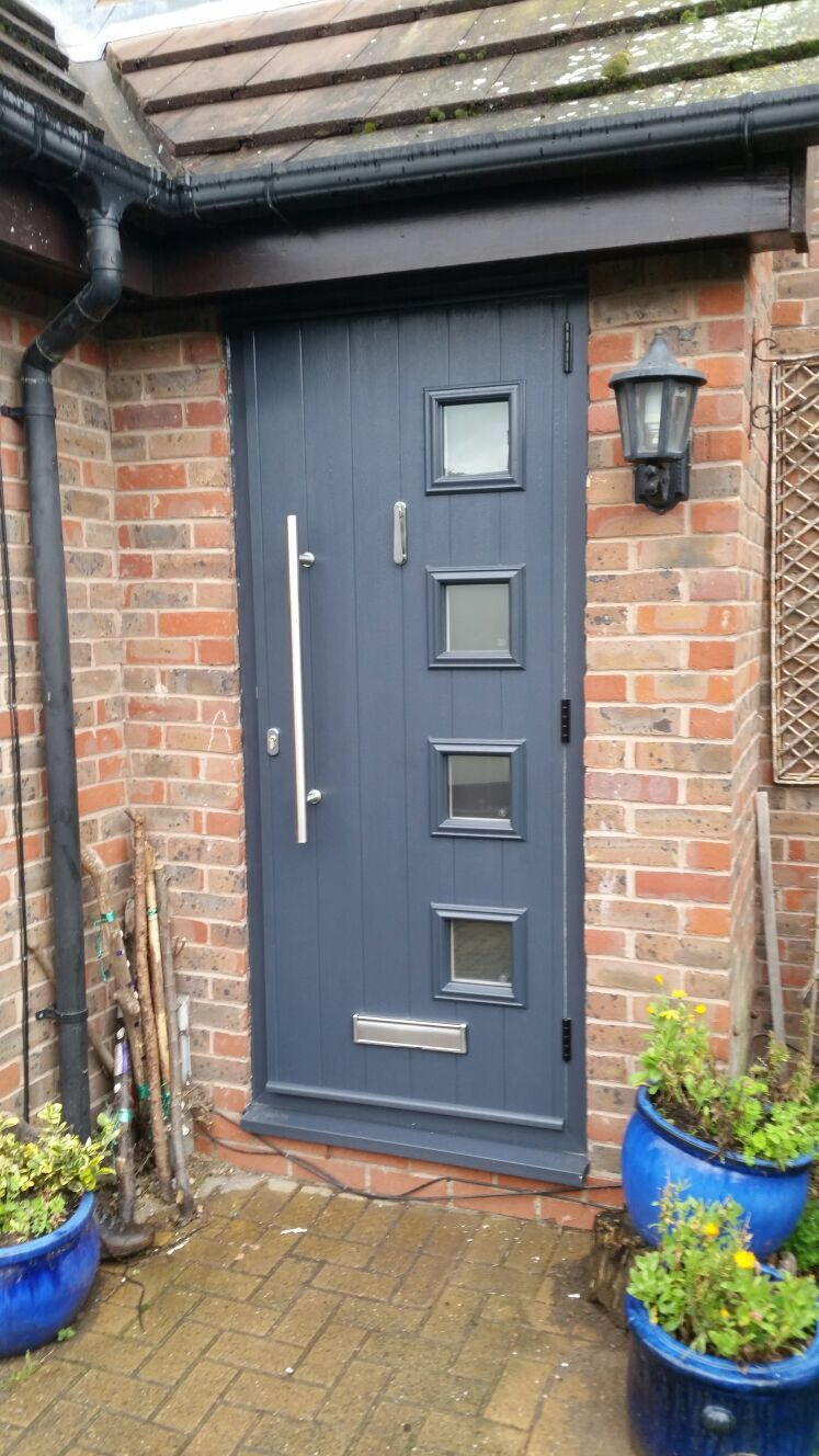 Milano Solidor Composite Door In Anthracite Grey With An Es3 800mm Stainless Steel Handle And Matching H Contemporary Front Doors Composite Door Double Glazing