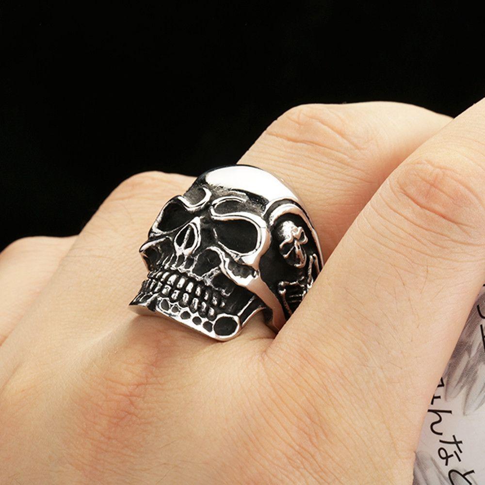 Ring Stainless Steel Rings For Man Big Tripple Skull Ring Punk ...