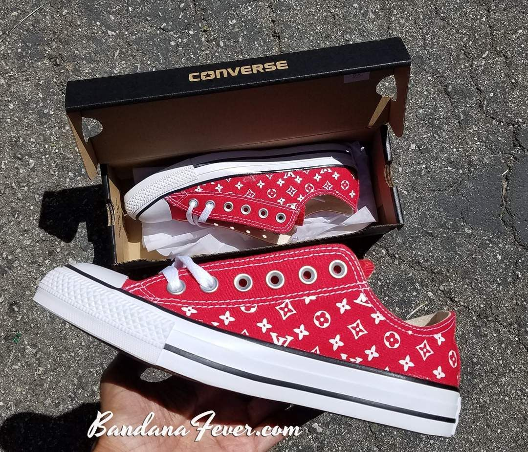 Bandana Fever Supreme LV Print Custom Red Converse Low Top