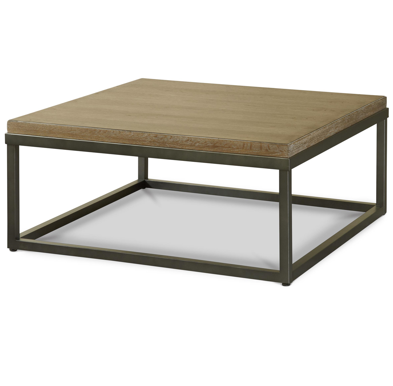 French Industrial Oak Wood + Metal Square Cocktail Table #frenchindustrial
