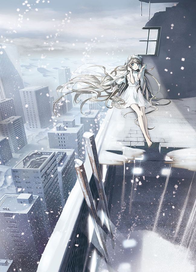 Anime Art Snow Snow Fall Rooftops Skyscrapers