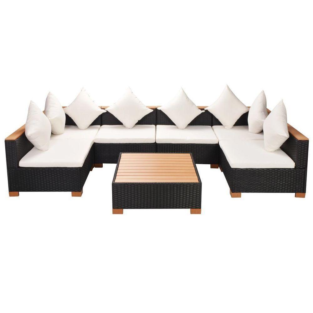 Garden Lounge Set Black Rattan Steel Frame White Cushions Lawn Outdoor Furniture Gardenloungese Aluminium Outdoor Furniture Outdoor Furniture Lounge Furniture