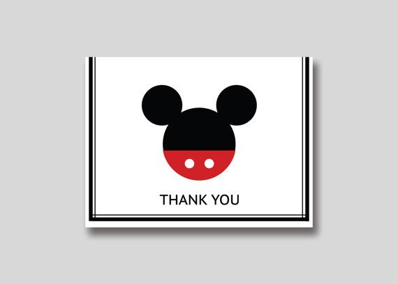 Instant Download Mickey Mouse Thank You Card Diy Printable Card