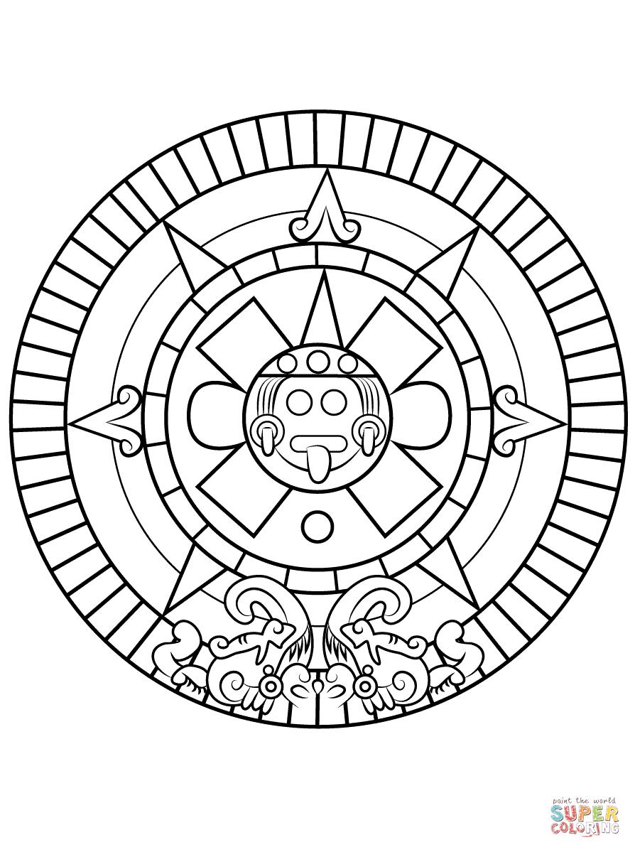 Aztec Sun Stone Super Coloring Sun Coloring Pages Aztec Calendar Aztec Art