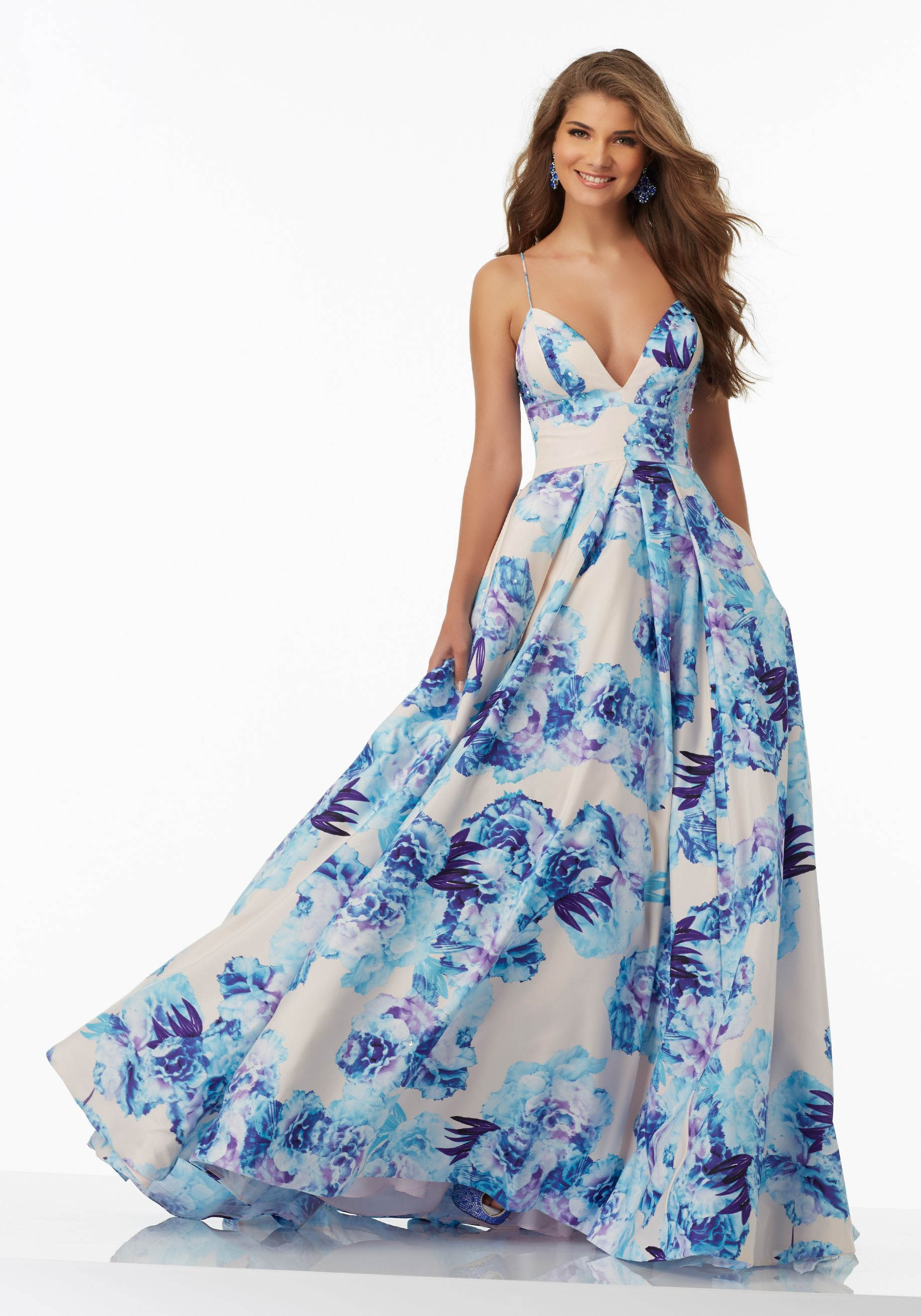 Floral Printed Taffeta A-Line Prom Gown with Deep-V Neckline and ...