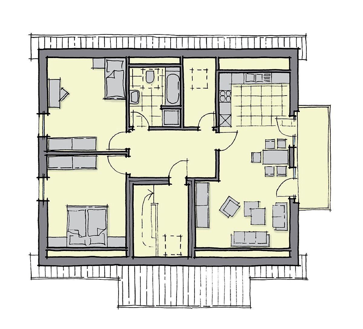 Grundriss 3 Zimmer Wohnung