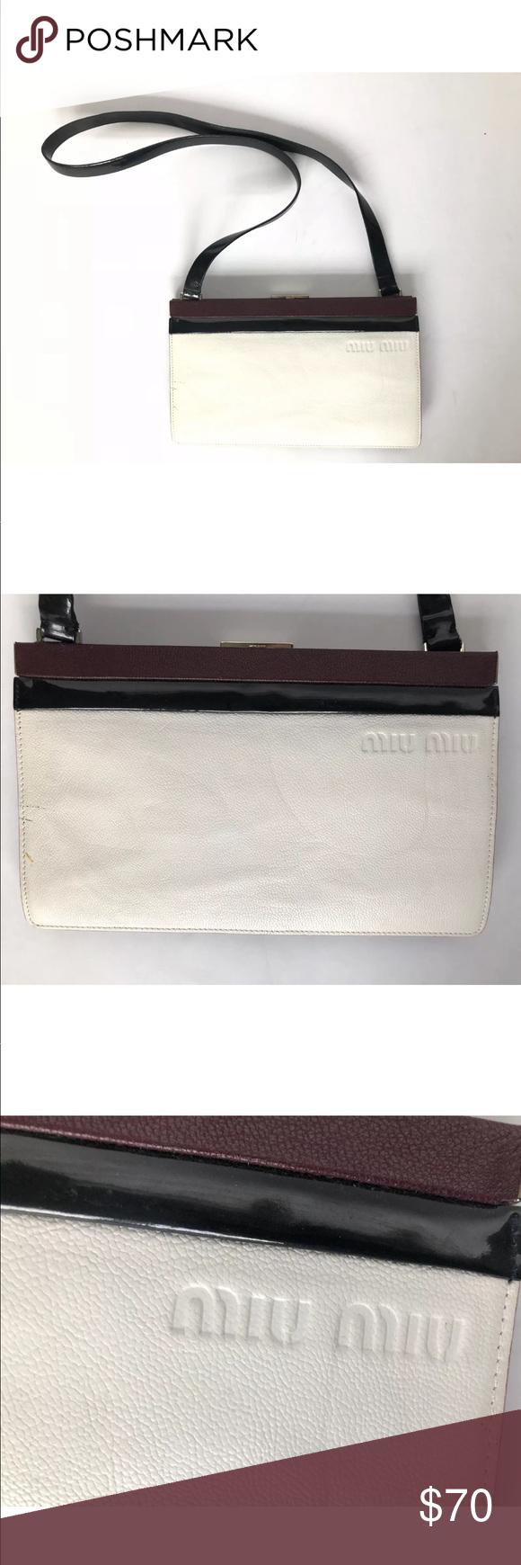 Miu Miu Made in Italy Clutch Purse Shoulder Bag Miu Miu Italy Vintage  Clutch White Burgundy Red Black Silver Purse Perforated Brand  Miu Miu  Size  small ... 614bcc4a18