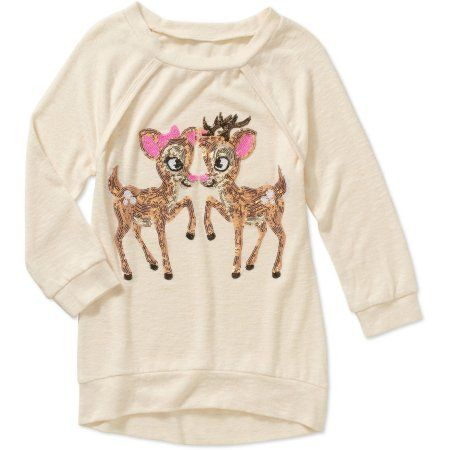 Miss Chievous Girls' Sequin Reindeer 3/4 Sleeve Brushed Hacci HiLo Tunic Top, Size: Small, Blue