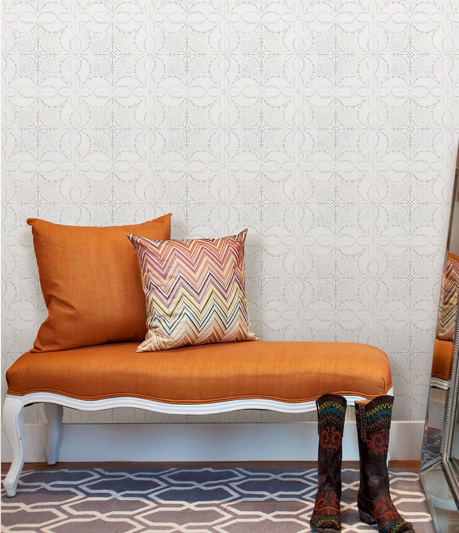Art Deco Tiles Wallpaper, Temporary Geometric Wall Paper