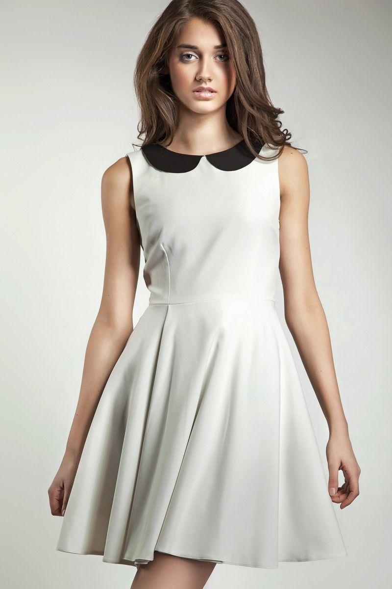 bbb720bdfa31e ROBE COL CLAUDINE, BLANCHE ET NOIRE. DRESS, WHITE AND BLACK.   Prêt ...
