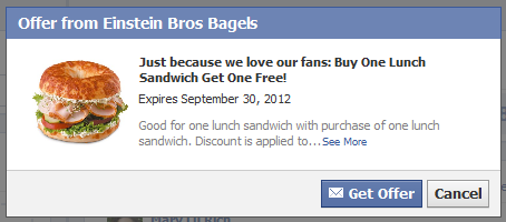 FACEBOOK COUPON $$ BOGO FREE Lunch Sandwich at Einstein Bros. Bagels!