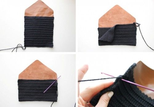 Cool Diy Crocheted Leather Flap Clutch Crochet Bag Diy Crochet Clutch Tutorial