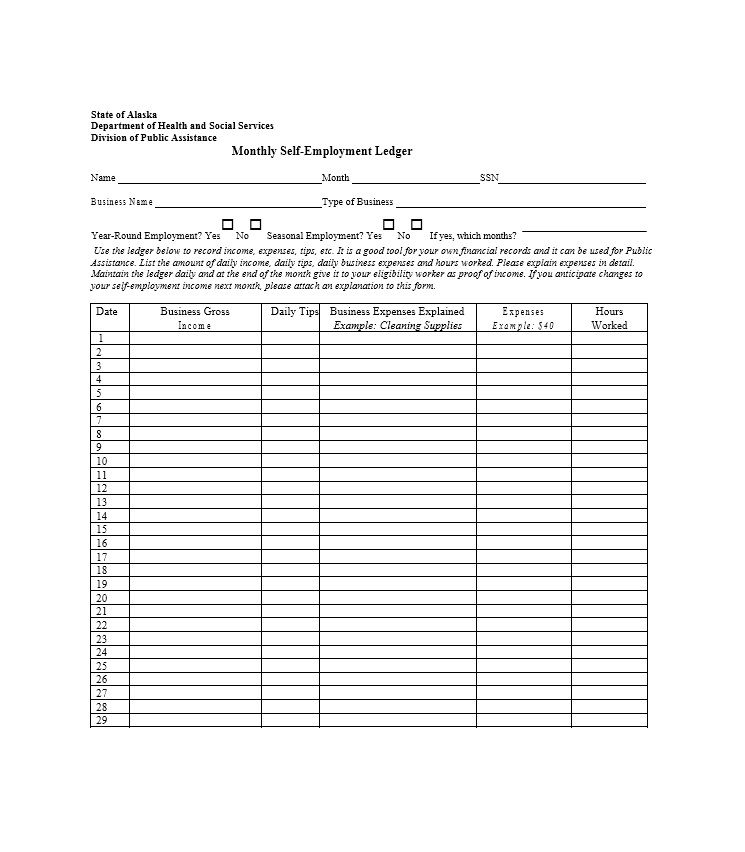 Self Employment Ledger 40 Free Templates Examples Self Employment Employment Ms Word Template