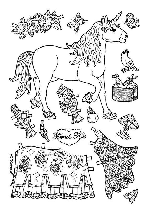 Superb Unicorn Paper Doll Coloring Page