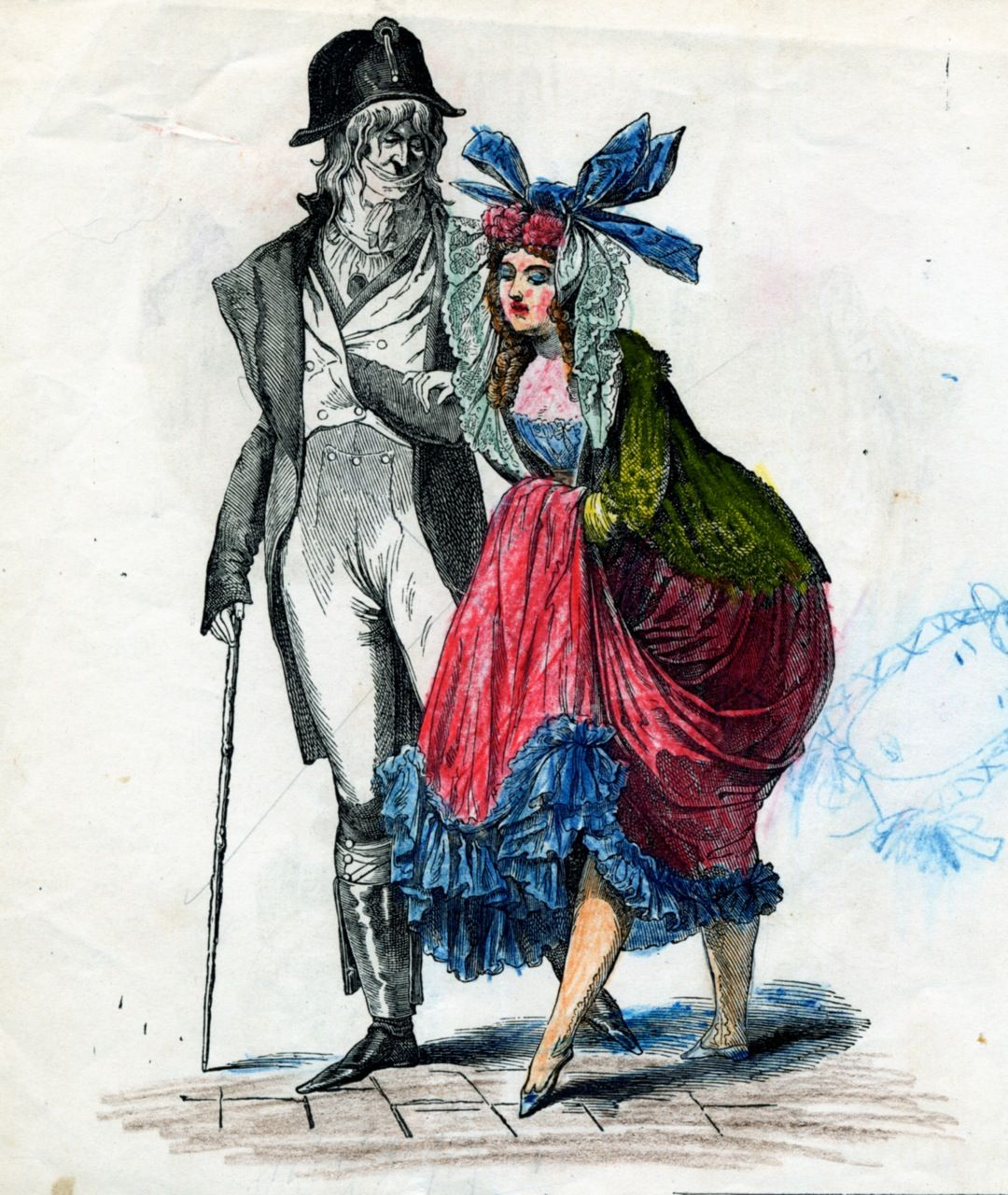 This Marveilleux seems to display a low-cut bustier under a vibrant colored dress. She also shows how marvelous she is with her oversized hair ribbon.