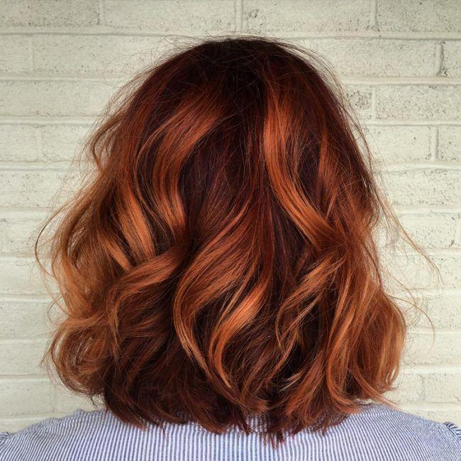 Ombre Bob Kupfer Wellen Naturlich Warme Farben Hair Frisur Rot