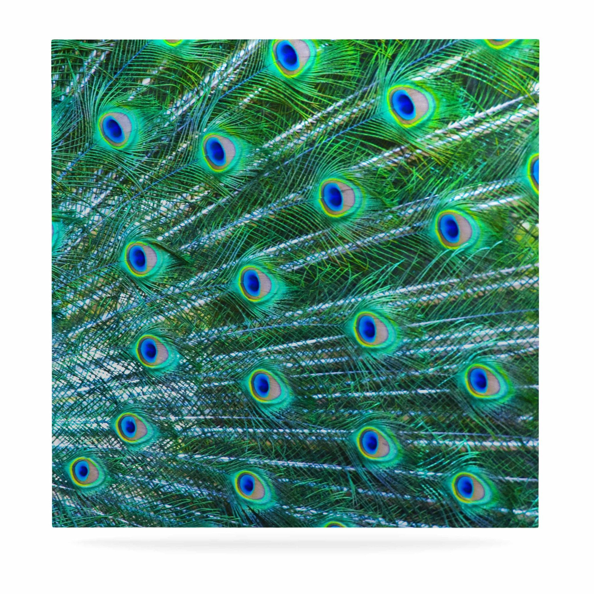 "Susan Sanders ""Teal Blue Peacock Feathers"" Photograph Luxe Square Panel"