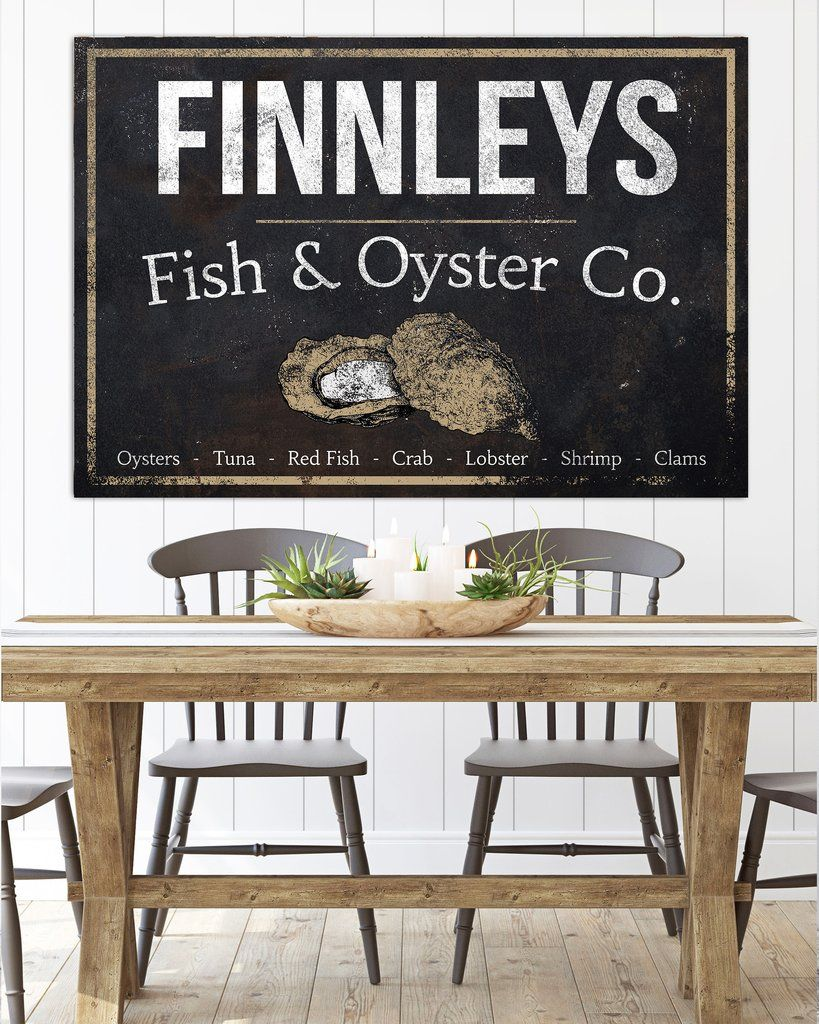 Personalized Vintage Sign Fish Oyster Co Name Sign Canvas