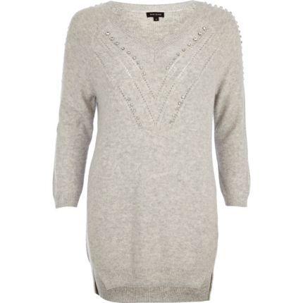 Grey embellished tunic - jumpers - knitwear - women River Island Womens e922cb10c