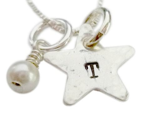 Personalized Initial Star with Pearl