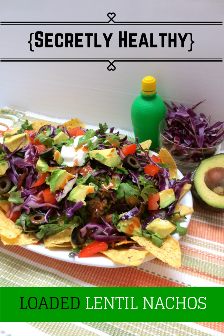 Nachos that are actually good for you! These nachos are topped with fresh, organic veggies and protein packed lentils. It's an easy, vegetarian, heart healthy meal.