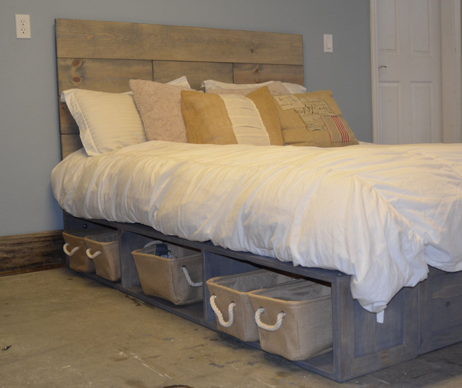 Platform Bed with Baskets and Rustic Wood by KnotsandBiscuits ...