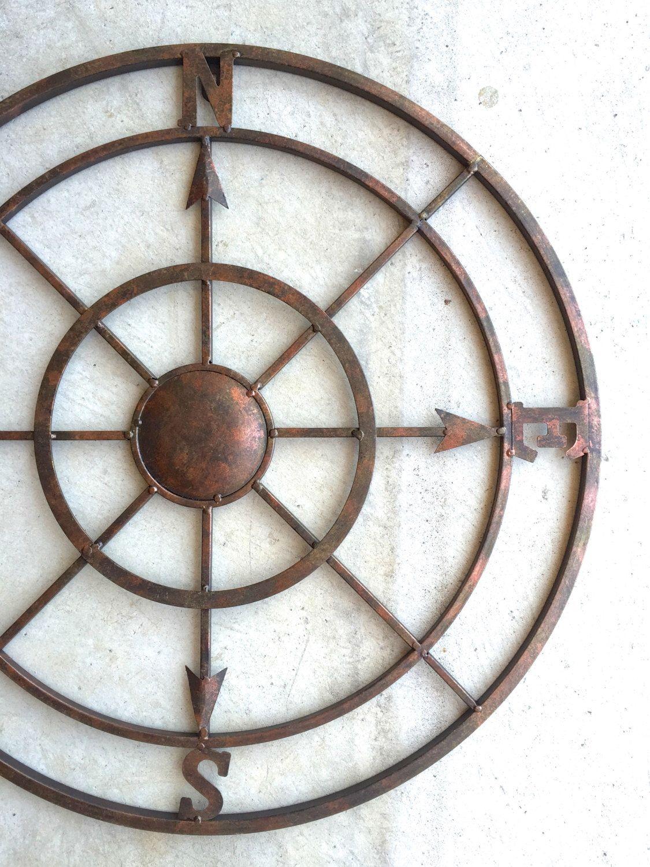 42 Compass Metal Compass Nautical Decor Metal Compass Etsy In 2020 Compass Wall Art Nautical Wall Decor Nautical Decor