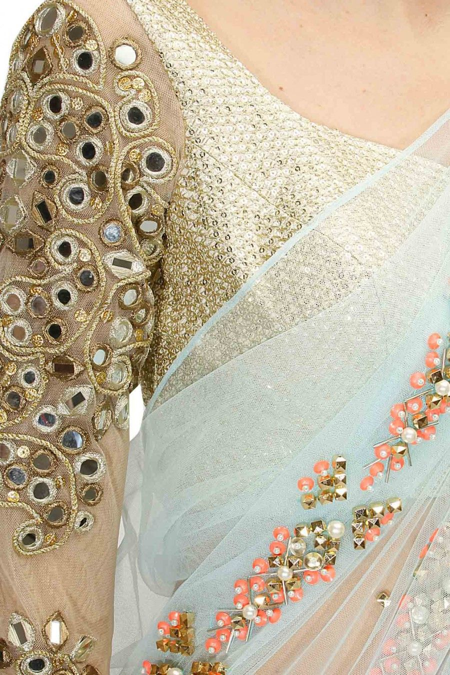 Lehenga blouse design in golden color and mirror work - Powder Blue 3d Flowers Pre Stitched Sari With Gold Embroidered Blouse Available Only At Pernia S Pop Mirror Work