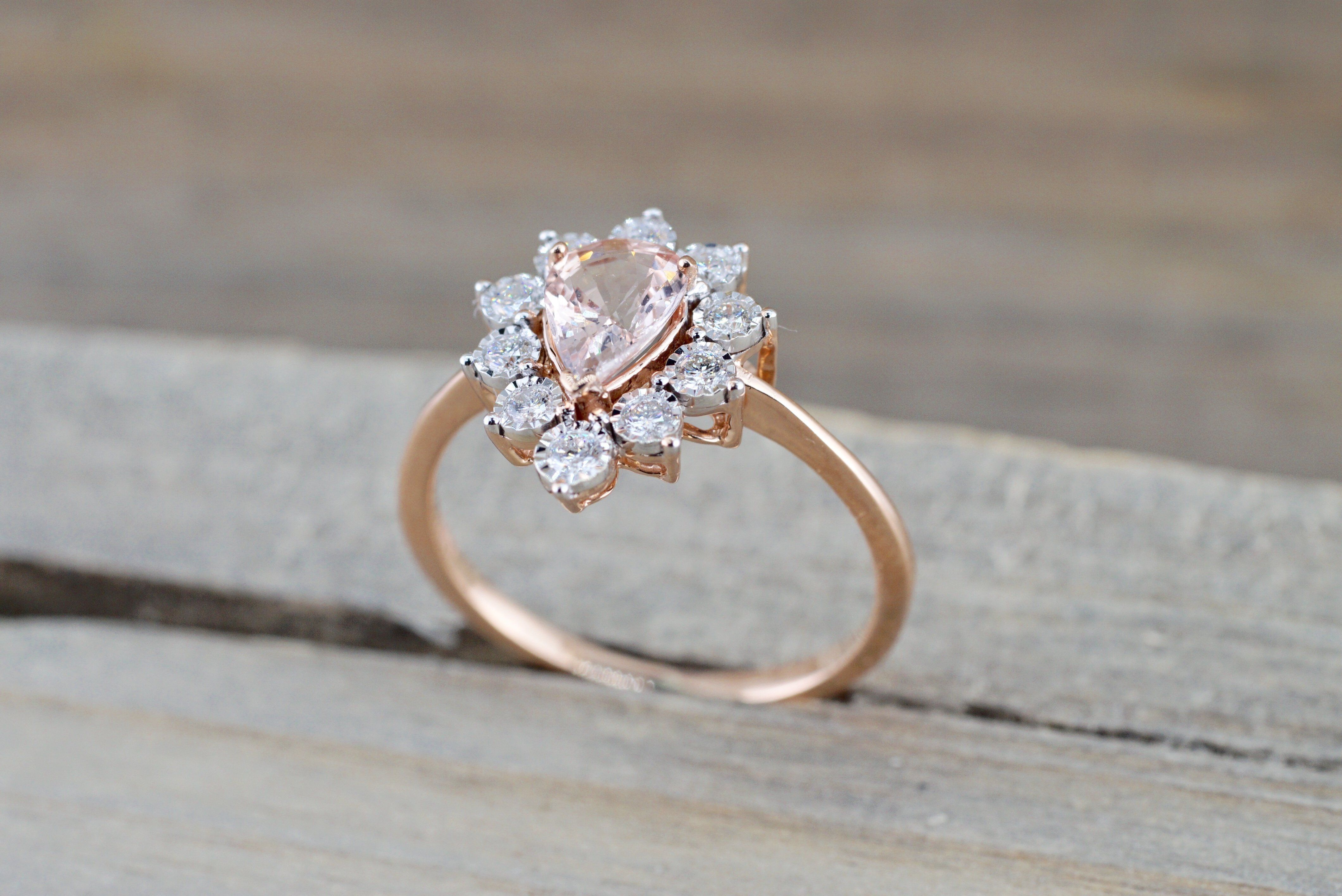 wedding engagement weddinginspiration peach ring pin sapphire ice