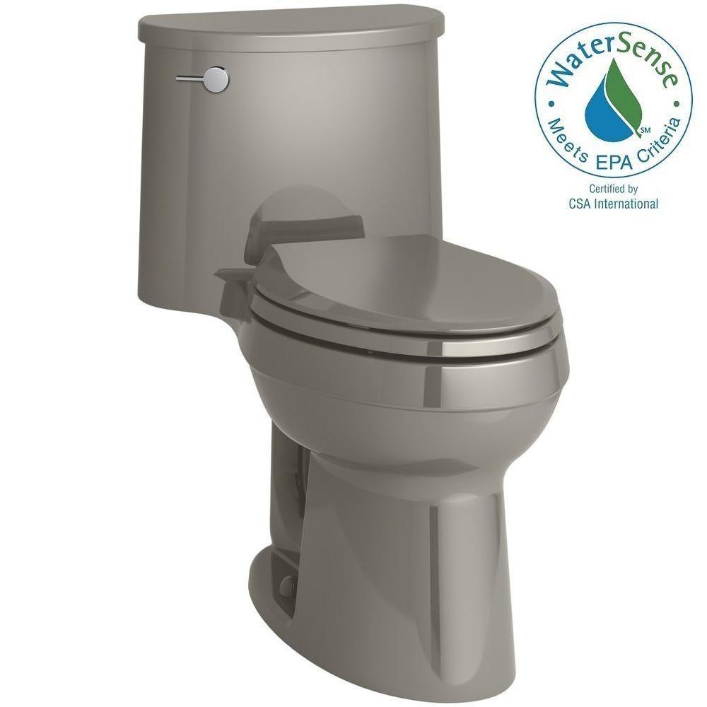 Kohler Adair Comfort Height 1 Piece 1 28 Gpf Single Flush Elongated Toilet With Aquapiston Flush Technology In Cashmere Water Sense Chair Height Toilet