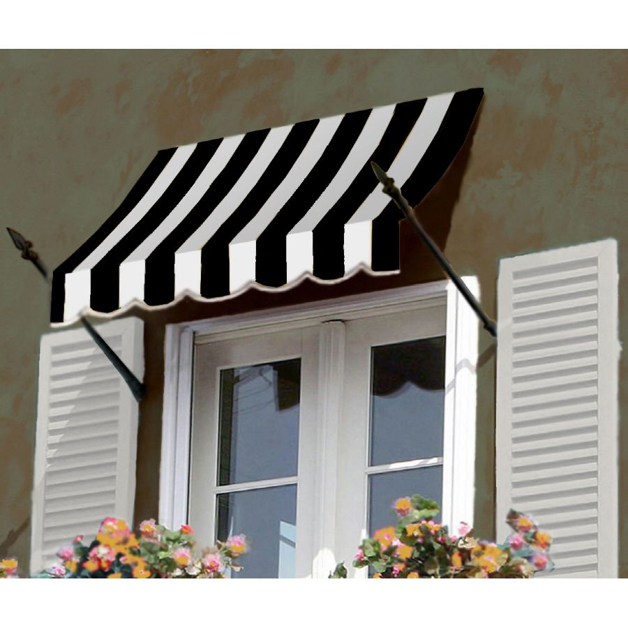 Awntech 6 Beauty Marka New Orleansa 31 H X 16 D Window Entry Awning Black White Stripe Lowes Com Awning Over Door House Awnings Door Awnings