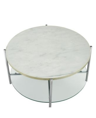 Walker Edison 32 Inch Round Coffee Table In Faux Marble With Glass