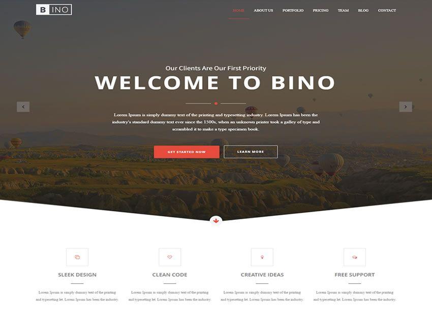 Bino \u2013 Free HTML5 Landing Page Template Free Bootstrap Landing
