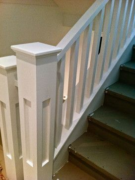 Craftsman Style Staircase Comprised Of 1 5 8 Square Spindles 6 X | Shaker Style Stair Railing | White | Exterior | Loft | Farmhouse Front Door | Square