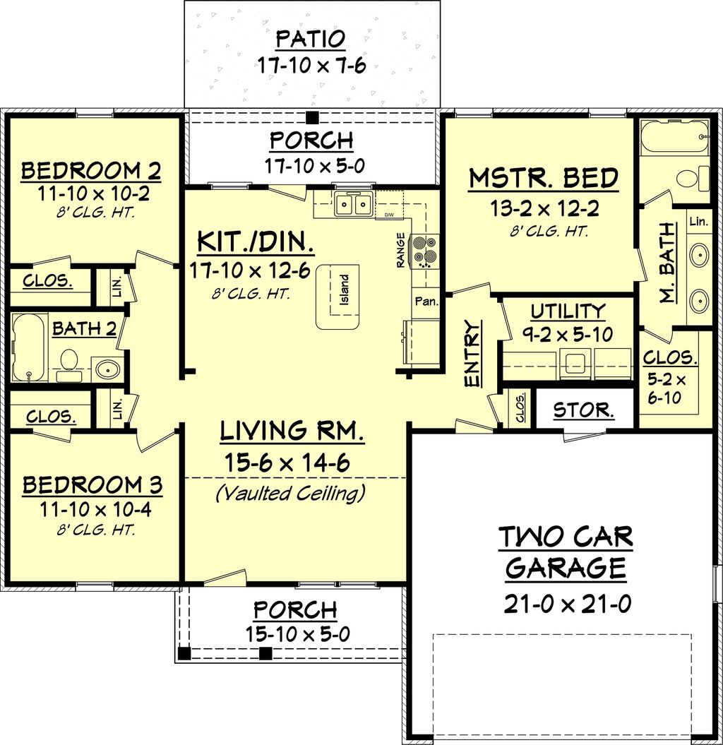 European Style House Plan 3 Beds 2 Baths 1300 Sq Ft Plan 430 58 House Plans One Story Southern House Plans New House Plans