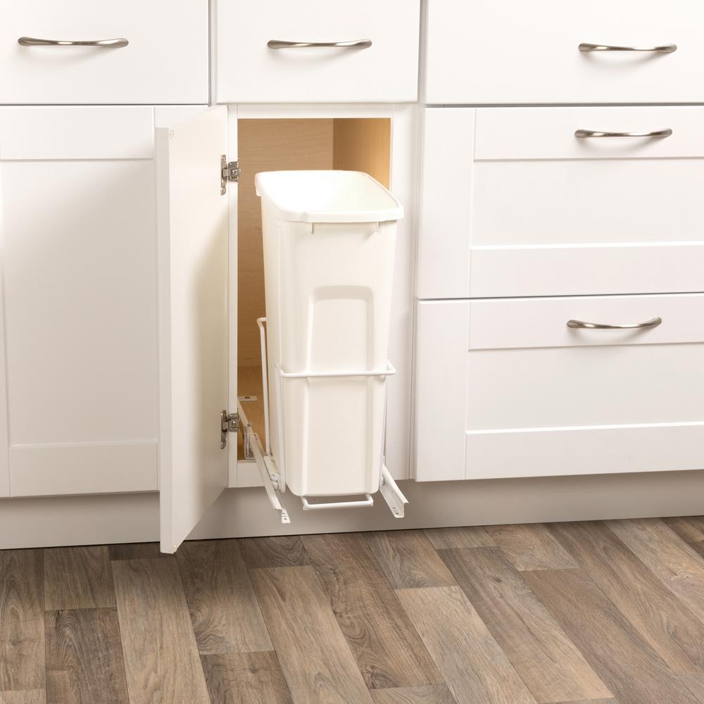 Real Solutions For Real Life 19 In H X 14 In W X 16 In D Steel 35 Qt In Cabinet Single Pull Out Trash Can In White Ecw10 1 35 R W Trash Can Cabinet Kitchen Trash