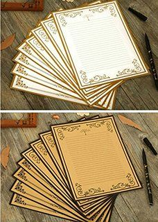 Imagicoo 64 Vintage Retro Cute Design Writing Stationery Paper Pad Letter Set White Khaki Printable Postcards Vintage Lettering Stationery Paper
