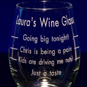 Engraved Graduated Stemless Wine Glass Wine Glass Sayings Wine