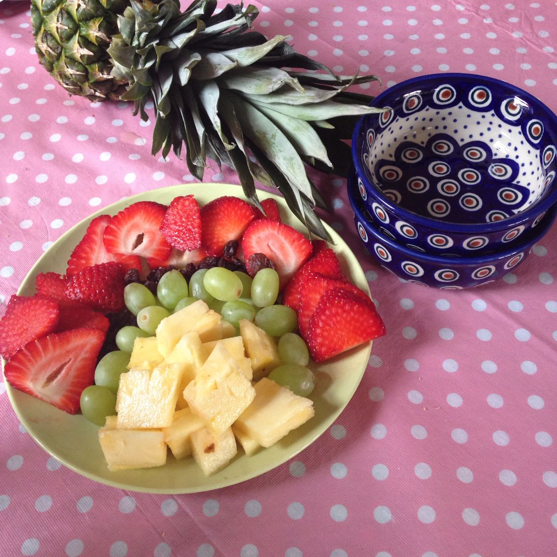 Small polish pottery bowls ideal for kids snack.  Fruit rainbow