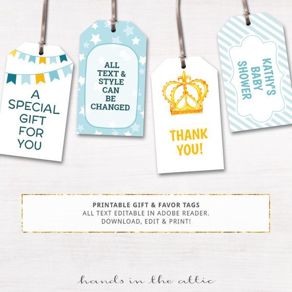 Printable Baby Shower Gift Tags Editable Party Favor Labels