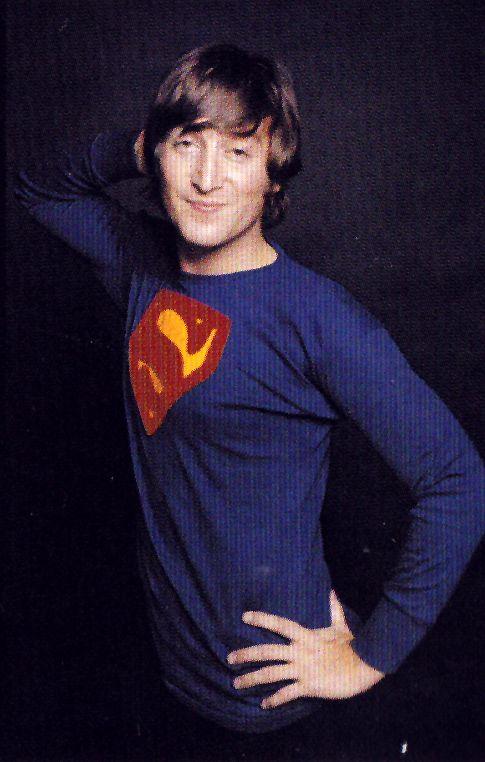 John Lennon Wearing A Superman Shirt 1965