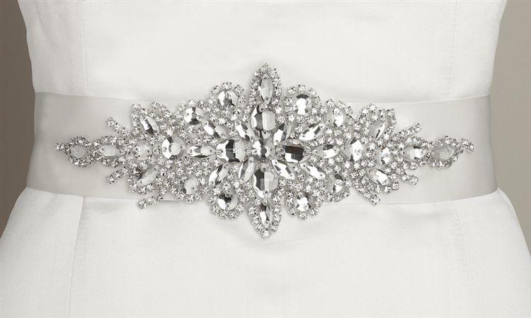 Mariell Crystal Satin Wedding Dress Belt Sash will add lots of glitz ...