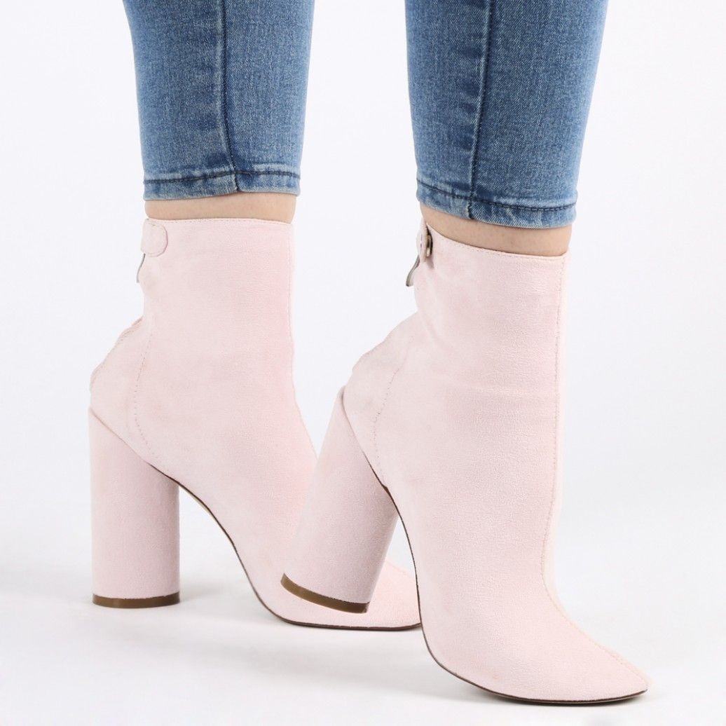 PUBLIC DESIRE NUDE PINK FAUX PATENT LEATHER ANKLE BOOTS HEELS SHOES CHUNKY