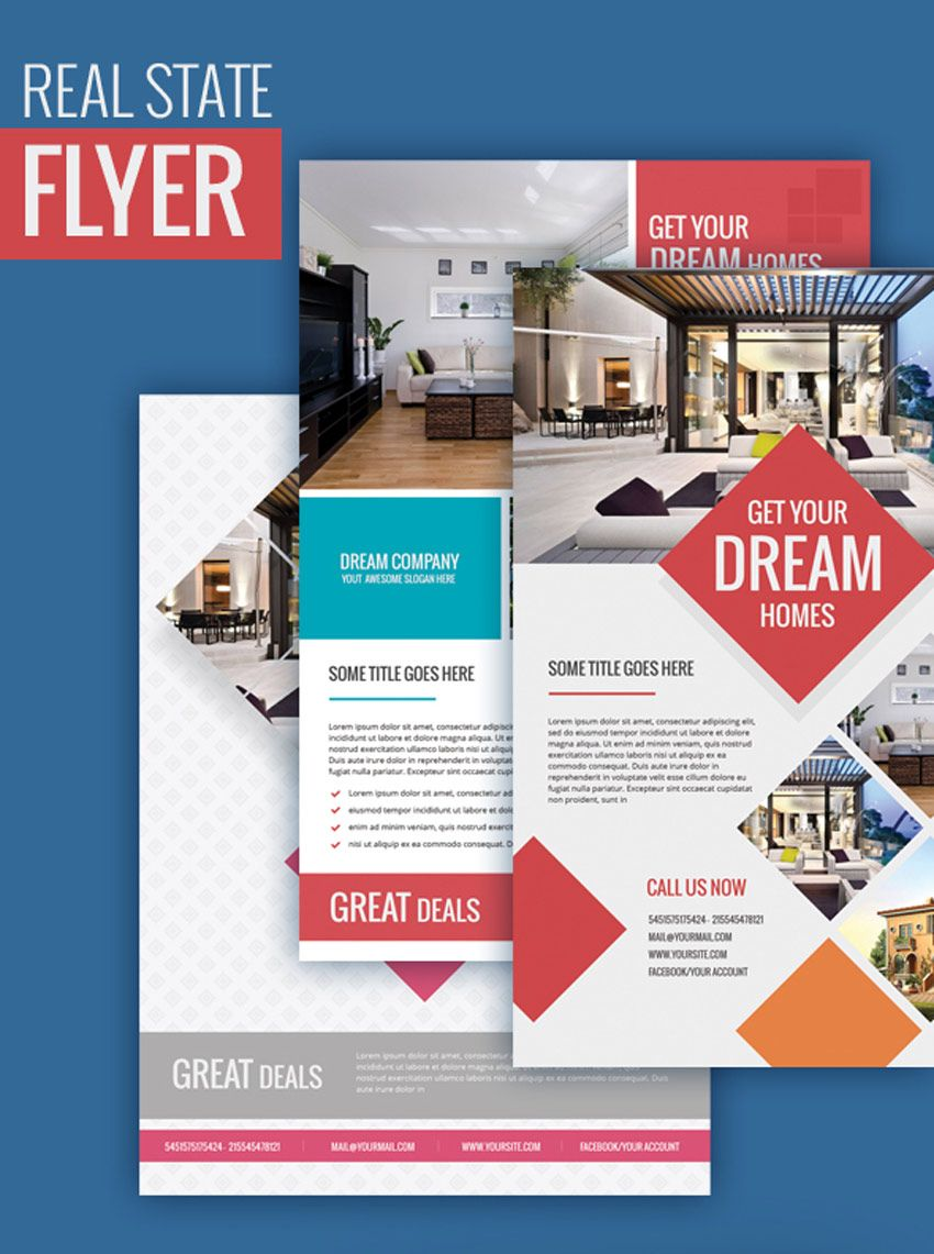 premium real estate flyer illustrator pinterest real estate