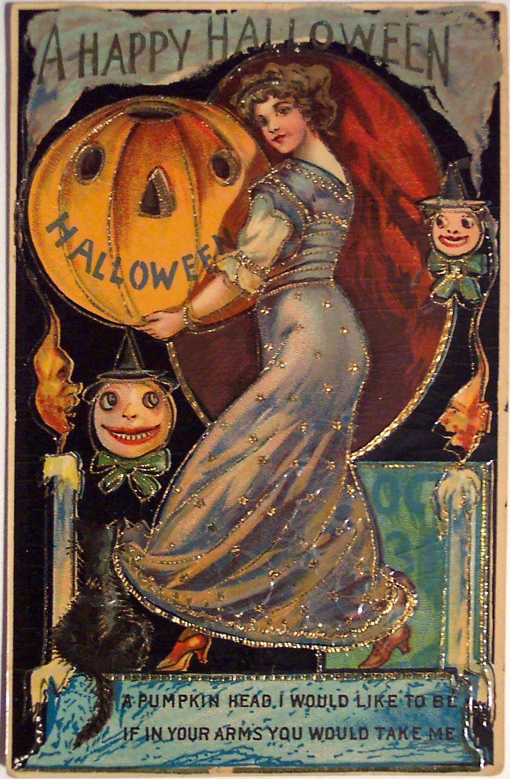 Gorgeous pumpkin head postcard Natal Vintage, Retro Halloween, Victorian  Halloween, Vintage Halloween Images