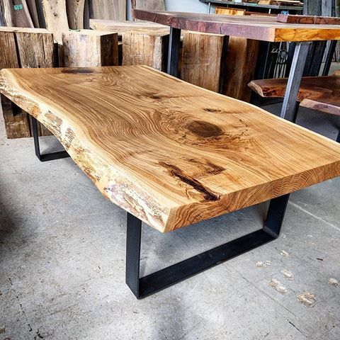 Today S Completed Project Jumbo Live Edge White Oak Coffee Table