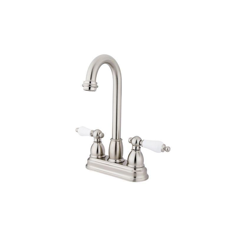 Kingston Brass KB349.PL Restoration Centerset Bar Faucet with Porcelain Lever Ha